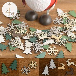 クリスマス 飾り 木製 キャラクターチップ 4種 (ツリー緑・白、スノー、ディア)のうち1種